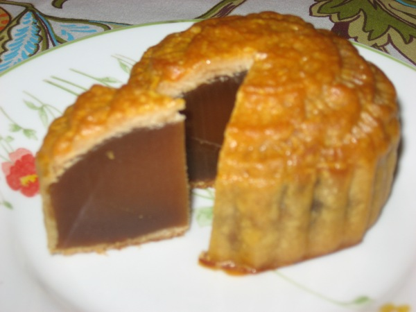 Blurry inside of lotus seed paste moon cake