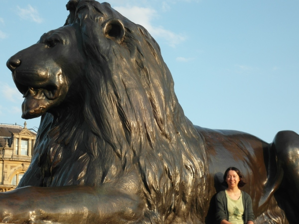 E   lion in Trafalgar Square